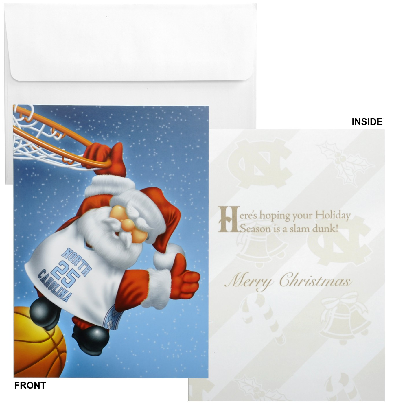 Johnny t shirt north carolina tar heels santa dunking for Unc business cards