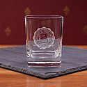 Etched Seal Square Double Old Fashioned Glass