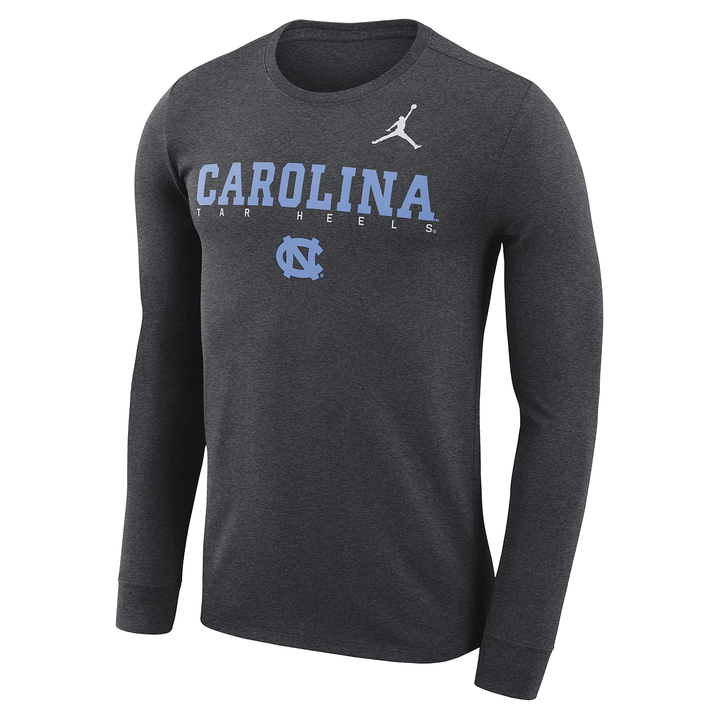 baed6841d8c8 Johnny T-shirt - North Carolina Tar Heels - Nike Long Sleeve Jumpman  Facility T (Charcoal Heather) by Nike