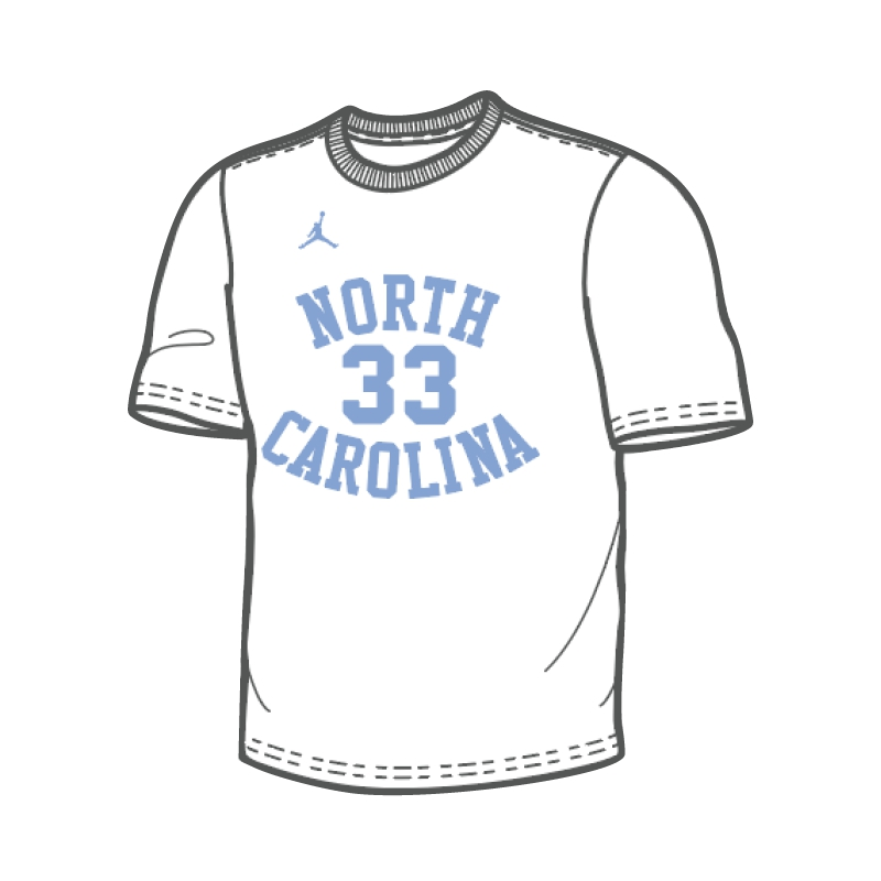 8842169eef18 Johnny T-shirt - North Carolina Tar Heels - Nike  33 Retro Basketball  Uniform T (White) by Nike